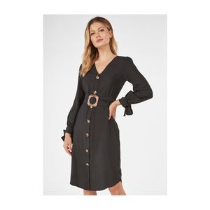 Black Button Front Dress with Wood Snake Belt
